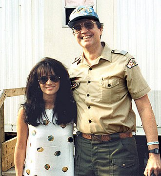 1993 National Scout Jamboree - Singer Louise Mandrell at the 1993 Jamboree with a visiting National Council representative from the West Central Florida Council