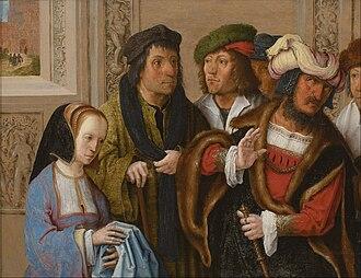 Lucas van Leyden - Potiphar's Wife Displays Joseph's Garment