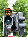 Luxembourg Traffic signal amber arrow left.JPG