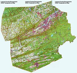 Topographical map of Luzerne County