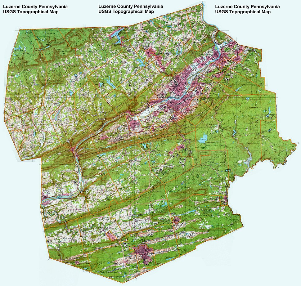 Topographical map of Luzerne County Luzerne County
