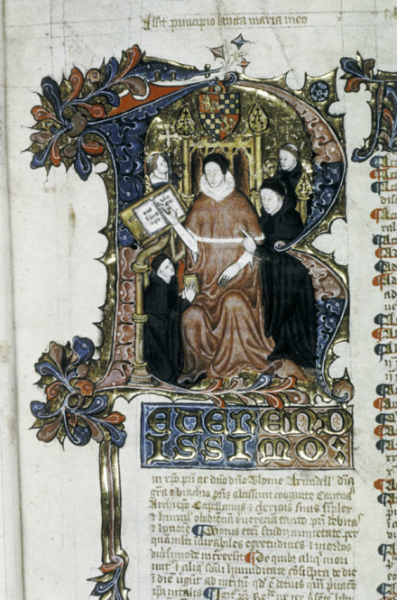 Archbishop Thomas Arundel, a key figure in Prestbury's career, depicted within a historiated initial R. MS Laud Misc 165 fol 5.png