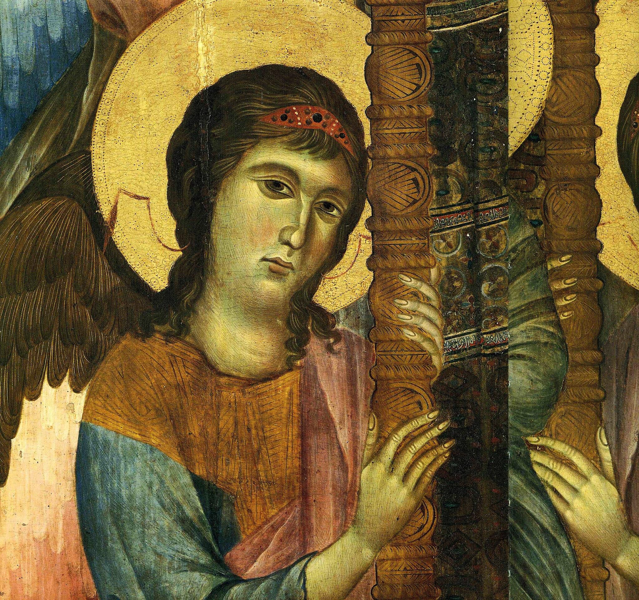 Cimabue, Maestà del Louvre dettaglio dell'Angelo e del trono, 1280 circa, tempera su tavola, 424 × 276 cm, Louvre, Parigi