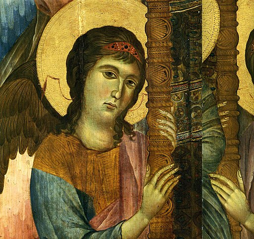 Maestà del Louvre, dettaglio dell'Angelo e del trono