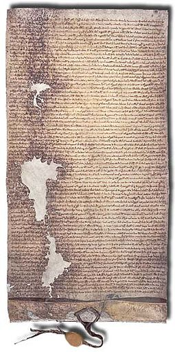 The 1225 version of Magna Carta issued by Henry III, held in the National Archives Magna Carta (1225 version with seal).jpg