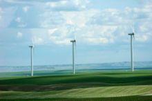 Wind turbines at Magrath, Alberta, Canada.