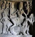 Mahishasuramardini, Upper storey, Cave No. 21, Ellora Caves.jpg