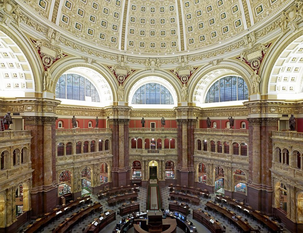 Main Reading Room. View from above showing researcher desks. Library of Congress Thomas Jefferson Building, Washington, D.C. LOC 8471102120