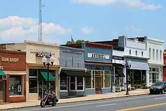 Pineville, North Carolina - Main Street in the Historic Pineville Town Center.