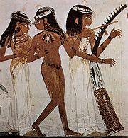 Ancient Egyptian painting depicting a player of the long-necked lute (center), 18th Dynasty (c. 1422-1411 BC)