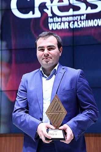 Shakhriyar Mamedyarov - Mamedyarov at the closing ceremony of the 2016 Shamkir Chess tournament.
