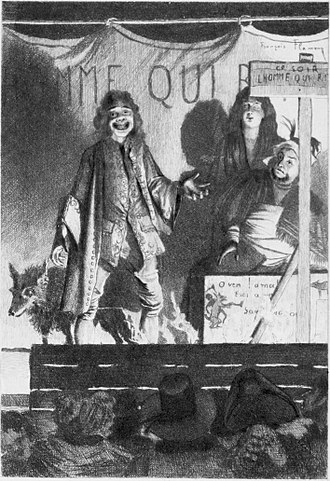 """The Man Who Laughs - """"At the Green Box."""", Frontispiece to volume II of the 1869 English translation."""