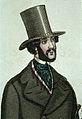 Man med skägg iförd hög hatt och rock med breda slag - Nordiska Museet - NMA.0031342.jpg
