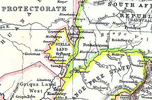 Stellaland - Stellaland with its capital Vryburg on a contemporary map prior to unification with Goshen to the northeast