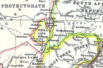 Thomas Upington - Map of the Transvaal – Bechuanaland border, showing the tiny Boer state of Stellaland. Goshen, even smaller, is located to its north-east.