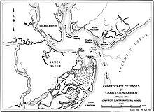 Carte maritime et terrestre des alentours de Fort Sumter.