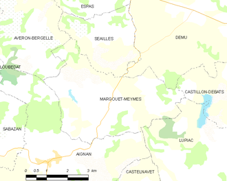 Margouët-Meymes - Margouët-Meymes and its surrounding communes