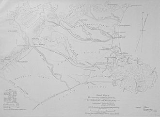 Lake Coleridge - Image: Map of Canterbury by Thomas, 1849