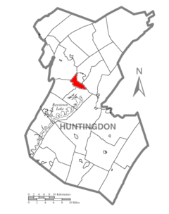 Map of Huntingdon County, Pennsylvania Highlighting Smithfield Township.PNG