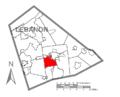 Map of Lebanon County, Pennsylvania Highlighting North CornwallTownship.PNG