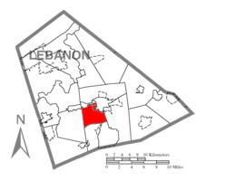 Map of Lebanon County, Pennsylvania highlighting North Cornwall Township
