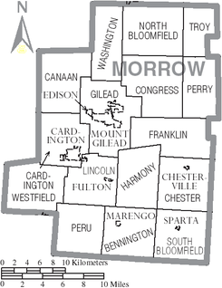 Map of Morrow County Ohio With Municipal and Township Labels.PNG