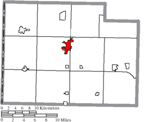 Paulding, Ohio - Image: Map of Paulding County Ohio Highlighting Paulding Village