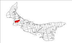 Map of Prince Edward Island highlighting Lot 14