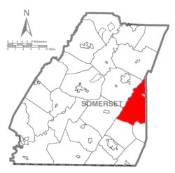 Map of Somerset County, Pennsylvania Highlighting Allegheny Township