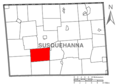 Map of Susquehanna County Pennsylvania highlighting Dimock Township.PNG