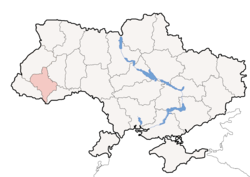 Location o Ivano-Frankivsk Oblast (red) athin Ukraine (blue)