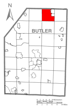Map of Butler County, Pennsylvania highlighting Venango Township