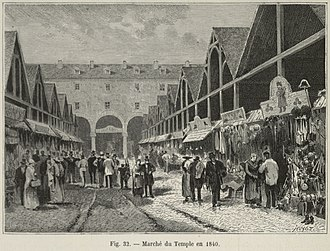 Haussmann's renovation of Paris - The second-hand clothing market, the Marché du Temple, in 1840, before Haussmann