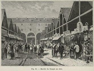 Haussmann's renovation of Paris - The second-hand clothing market, the Marché du Temple, in 1840, before Haussmann
