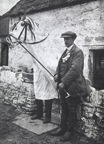 A Mari Lwyd c. 1910-1914. Traditionally carried from door to door during Calennig in Wales Mari Lwyd NLW.jpg