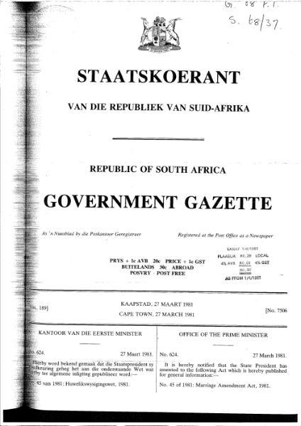 File:Marriage Amendment Act 1981 from Government Gazette.djvu