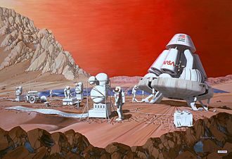 Mars to Stay - Artist's conception of a human mission on Mars   1989 painting by Les Bossinas of Lewis Research Center for NASA