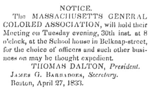Massachusetts General Colored Association - Massachusetts General Colored Association Notice, April 27, 1833 in The Liberator (anti-slavery newspaper)