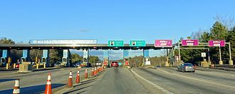 Massachusetts Turnpike - Now-demolished toll plaza on an exit ramp, January 2016