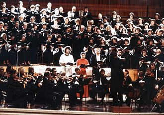 Luana DeVol - Luana DeVol frequently sang with the Masterworks Chorale. She can be seen on the left of the quartet of soloists in this 1979 performance.