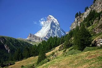History of the Alps - View of the Matterhorn within the Alps