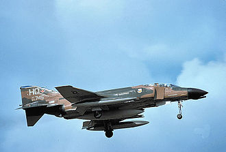 """7th Fighter Squadron - 7th Squadron F-4D Phantom after the changeover to the """"HO"""" tail code in 1975"""