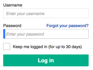 Password - A Wikipedia sign in form requesting a username and password