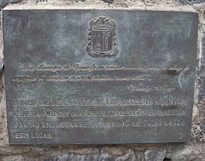 """Bentor - Plaque in honor of Bentor on Tenerife. Translated from Spanish, the bottom part reads: """"A tribute to the town of Los Realejos, Bentor, the last Guanche mencey, which, according to tradition by not surrendering, threw himself from this place""""."""