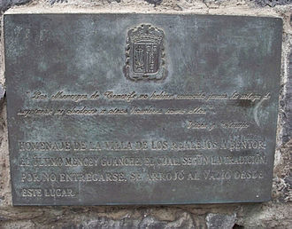 "Bentor - Plaque in honor of Bentor on Tenerife. Translated from Spanish, the bottom part reads: ""A tribute to the town of Los Realejos, Bentor, the last Guanche mencey, which, according to tradition by not surrendering, threw himself from this place""."