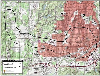 Meridian Campaign - Map of Meridian Battlefield study area by the American Battlefield Protection Program.