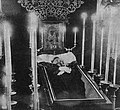 Michał Michalski in coffin, catafalque (1907).jpg