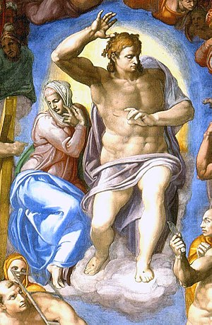Divine judgment - detail from Michelangelo's ''The Last Judgment''