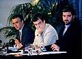 Miguel Ángel Rodríguez durante la rueda de prensa posterior al Consejo de Ministros junto al vicepresidente primero y ministro de la Presidencia y el ministro de Trabajo y Asuntos Sociales. Pool Moncloa. 12 de julio de 1996.jpg