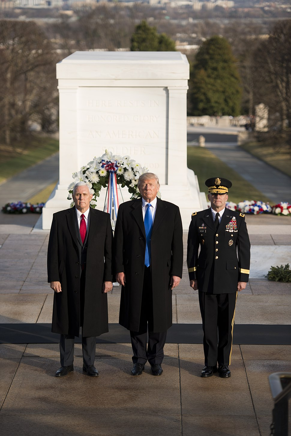 Mike Pence, Donald Trump, Bradley Becker wreath laying ceremony 01-19-17